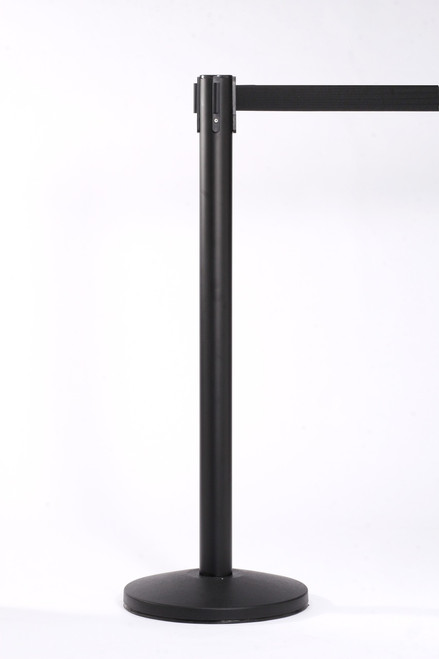 Black Crowd Control Stanchion 13 Foot Retractable Belt | Queue Master