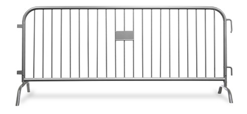 8 Ft Heavy Duty Steel Barricade - Silver Powder Coat Finish