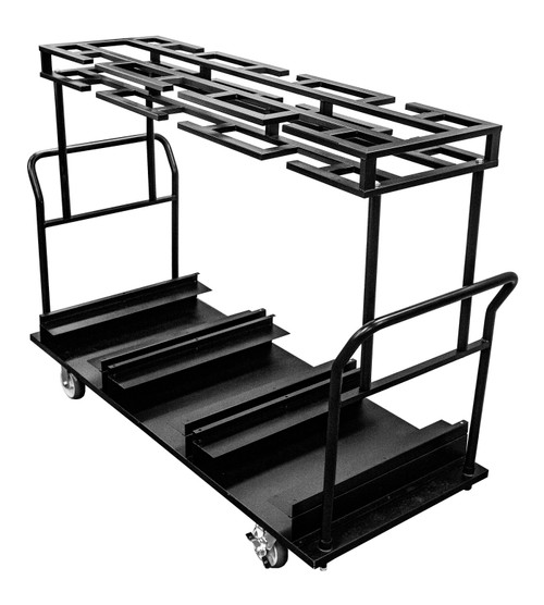 "12 to 10 Post Stanchion Cart - Weather Master 19"" Rubber Base Stanchions"