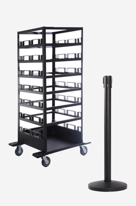 Black Crowd Control Stanchion 21 Pack & Cart - Free Shipping