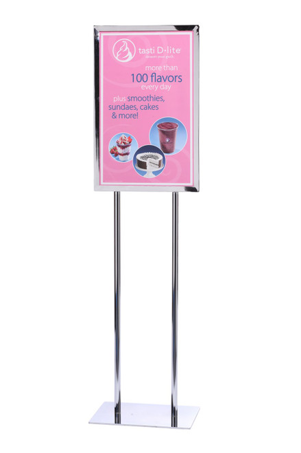 """Vertical Poster Stand Frame 14"""" x 22"""" Polished Chrome Finish"""