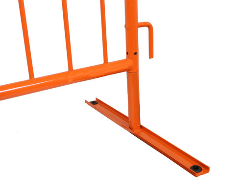 8 Foot Heavy Dutry Steel Barricades with Orange Powder Coat and Flat Bases