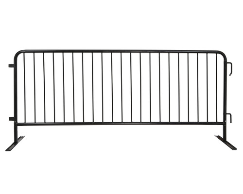 8 Foot Heavy Duty Steel Barricades with Black Powder Coat and Flat Bases
