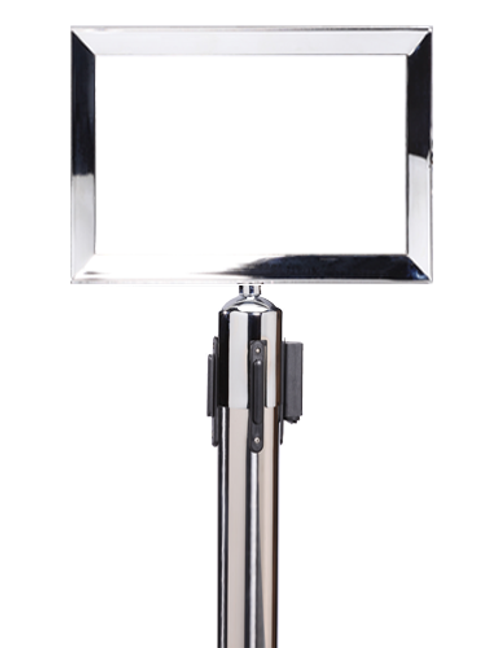 "11""x14"" Polished Stainless Horizontal Stanchion Sign Frame"