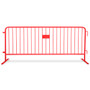 8 Ft Heavy Duty Steel Barricades with Red Powder Coat | Flat Bases - Crowd Control Barriers
