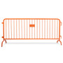 8.5 Ft Red Steel Crowd Control Barricades with Bridge Bases | Heavy Duty Barriers