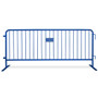 8.5 ft Blue Steel Crowd Control Barricades with Flat Bases