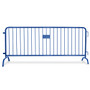 8.5 Ft White Steel Crowd Control Barricades with Bridge Bases   Heavy Duty Barriers