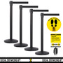 4 Pack - Free Shipping | Black Retractable Belt Barriers 7.5 to 13 ft Belts
