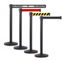 4 Pack | Black Retractable Belt Barriers 7.5 to 13 ft Belts
