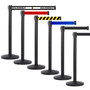 6 Pack - Free Shipping | Black Retractable Belt Barrier Stanchions