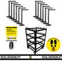 12 Pack & Cart - Free Shipping | Black Retractable Belt Barrier Stanchions