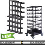 21 Pack & Cart - Free Shipping | Black Retractable Belt Barrier Stanchions