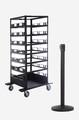18 Pack & Cart | Black Retractable Belt Barrier Stanchions