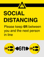 6 Pack Social Distancing - Floor Sticker | Heavy Duty Material