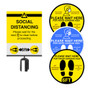 """Social Distancing Kit   6 Floor Stickers & 1 - 8.5""""x11"""" Sign Holder with Instructional Insert"""