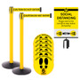 Free Shipping - Retractable Belt Barrier Social Distancing Kit - 2 Stanchions with Sign Holder & 6 Floor Stickers