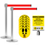 Retractable Belt Barrier Social Distancing Kit - 2 Stanchions with Sign Holder & 6 Floor Stickers