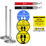 Rope Belt Barrier Social Distancing Kit - 2 Stanchions with Sign Holder & 6 Floor Stickers