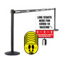 Retractable Belt Stanchion Bundle | 4 Pack With Sign and Floor Sticker Decals