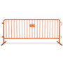 8.5 ft Orange Steel Crowd Control Barricades with Flat Bases