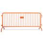 8.5 ft Orange Steel Crowd Control Barricades with Bridge Bases