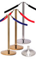 Rope Master Flat Top Rope Barrier Stanchion Post with Flat or Dome Base