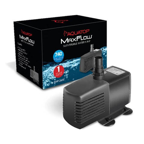 Aquatop SWP-2600 Submersible Pump 740 GPH with Adjustable Flow Rate
