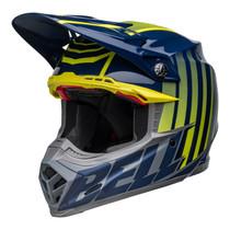 Bell MX 2022 Moto-9S Flex Adult Helmet (Sprint M/G Dark Blue/Hi-Viz Yellow)