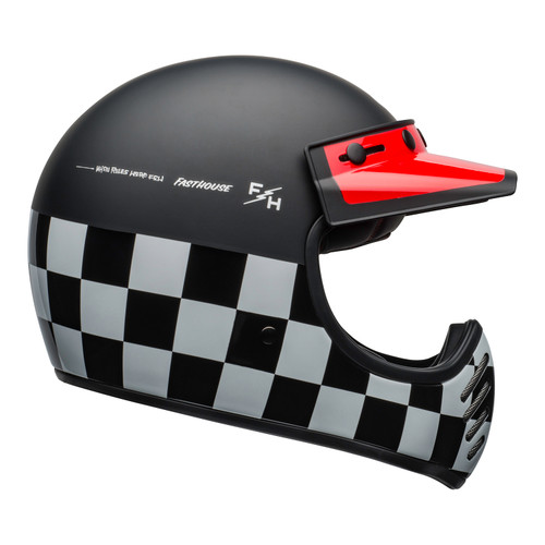 Bell 2020 Cruiser Moto 3 Adult Helmet (Fasthouse Checkers M/G Black/White/Red)