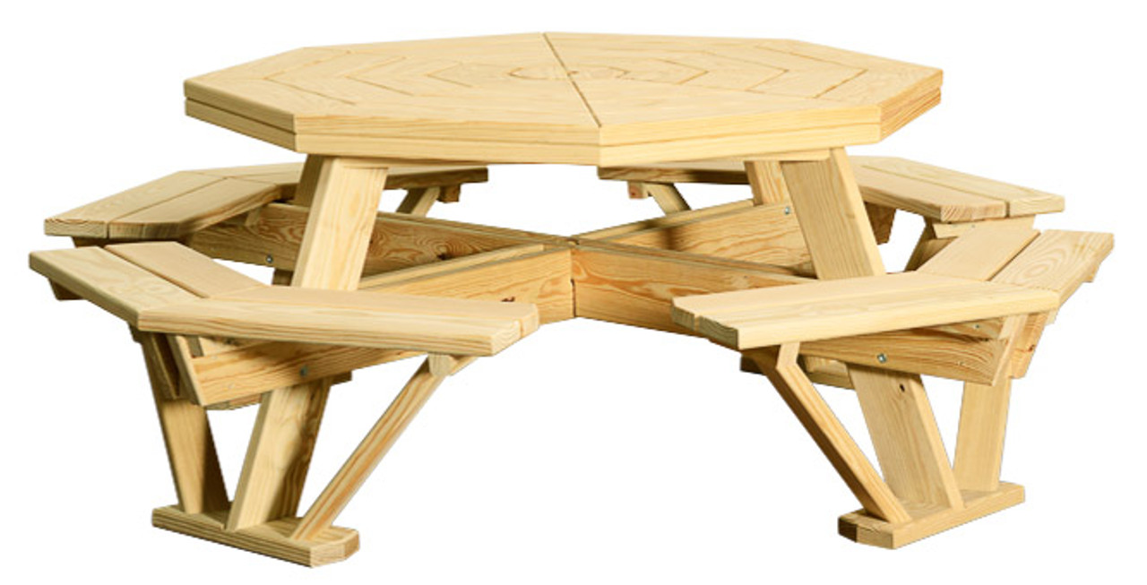 Outstanding Wv 403 Octagon Picnic Table W Attached Benches Ibusinesslaw Wood Chair Design Ideas Ibusinesslaworg