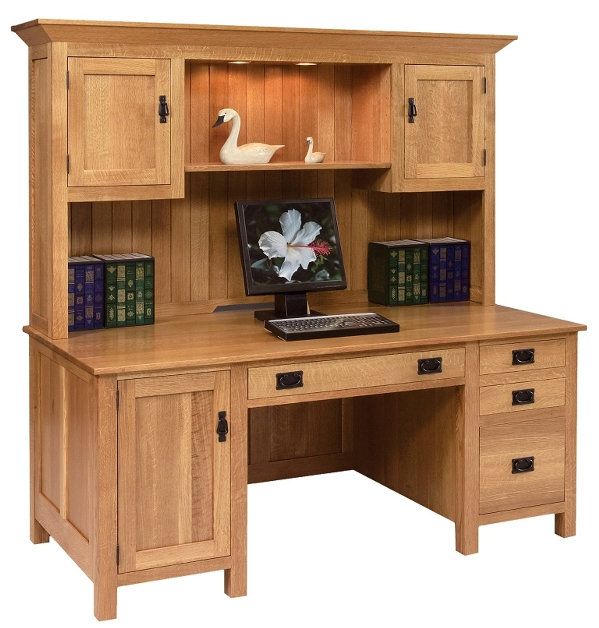 Go 3095 Computer Desk W Hutch Mission Style Whispering Pines Furniture