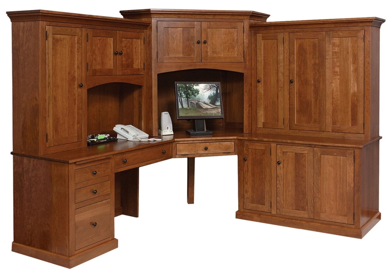 Go 3096 Computer Desk Set Deluxe Mission Style L Shape Whispering Pines Furniture