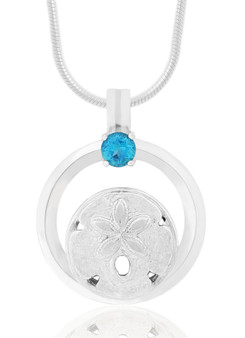 Sterling Silver Sand Dollar Circle of Life Blue Topaz Necklace