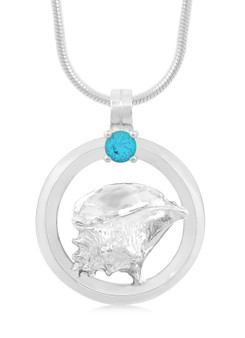 Sterling Silver Conch Shell Circle of Life Blue Topaz Necklace