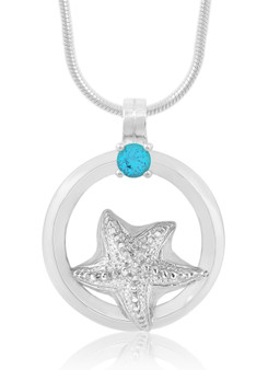 Sterling Silver Starfish Circle of Life Blue Topaz Necklace