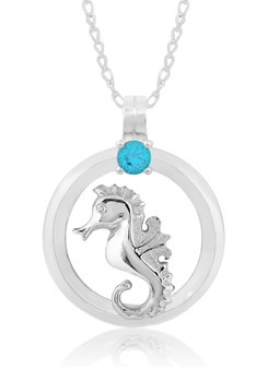 "Sterling Silver Seahorse Circle of Life Blue Topaz 18"" Necklace"