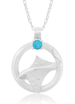 "Sterling Silver Spotted Eagle Ray Circle of Life Blue Topaz 18"" Necklace"