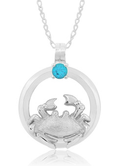 "Sterling Silver Crab  Circle of Life Blue Topaz 18"" Necklace"