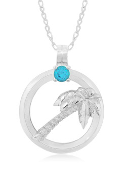 "Sterling Silver Palm Tree Circle of Life Blue Topaz 18"" Necklace"