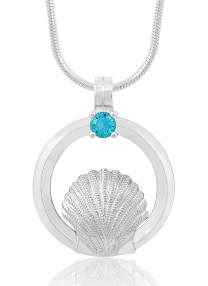 Sterling Silver Sea Shell Circle of Life Blue Topaz Necklace