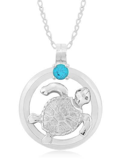 "Sterling Silver Turtle Circle of Life Blue Topaz 18"" Necklace"