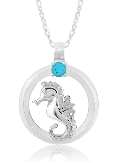 """Sterling Silver Seahorse Circle of Life Blue Topaz 18"""" Necklace"""