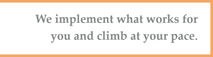 We implement what works for you and climb at your pace.