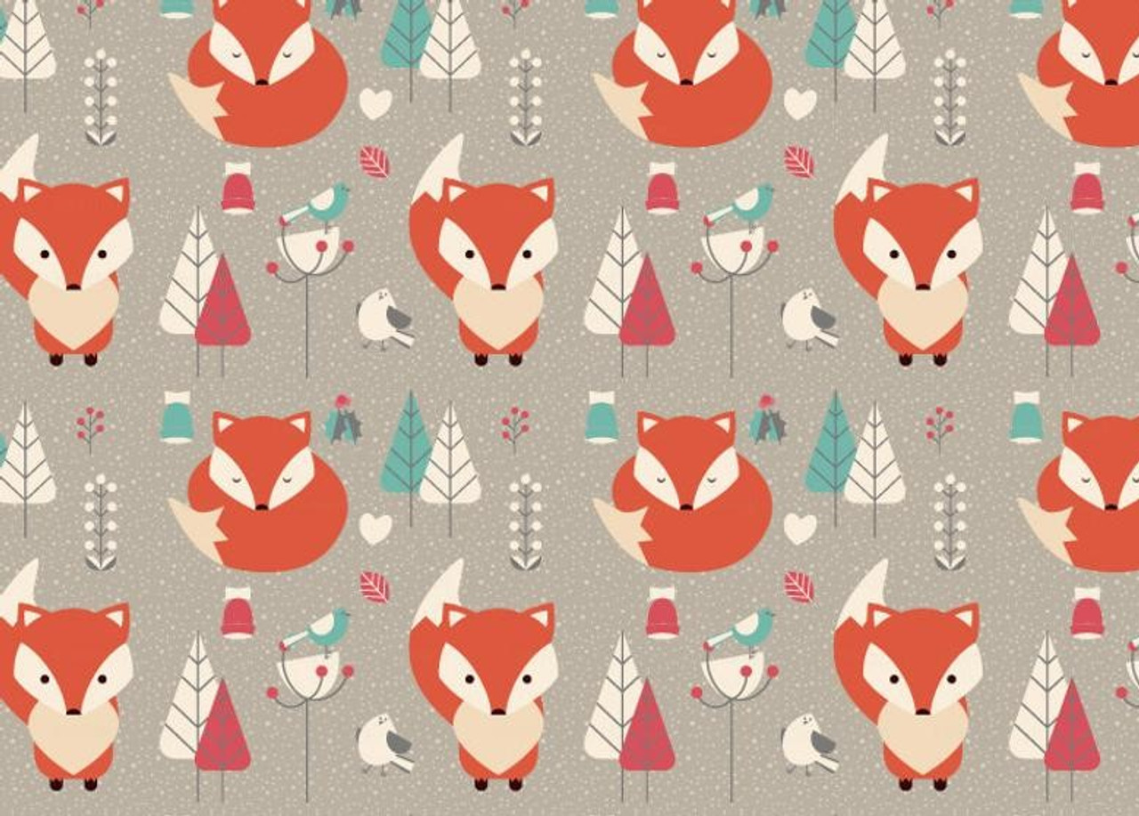 Christmas Fox in winter woolies red half metre free p/&p 100/% cotton.