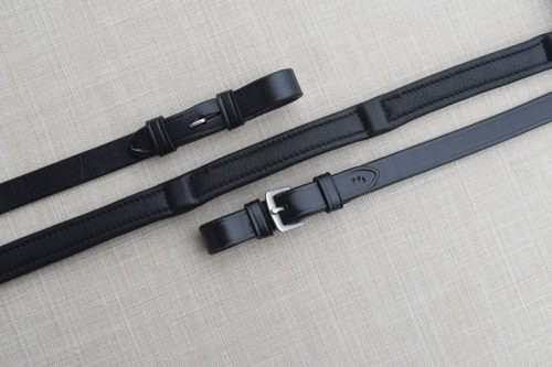 """Red Barn Calf Lined Dressage Reins - 5/8"""" - Black - Buckles - Extra Long"""