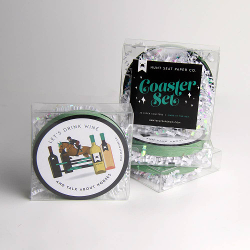 Let's Drink Wine Set of 20 Equestrian Horse Coasters
