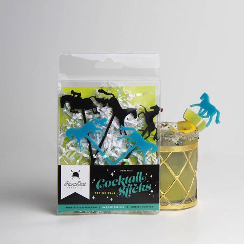 Equestrian Horse Cocktail Stirring Sticks - Box Set of Five