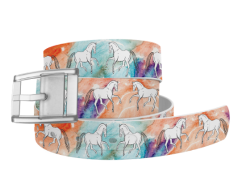 Classic Belt - Decidedly Equestrian Jump with White Buckle