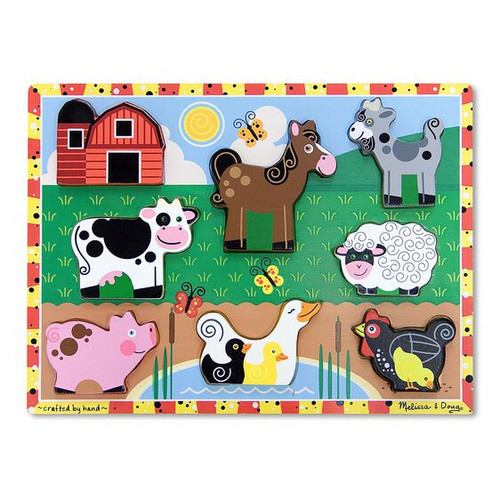 Melissa & Doug Farm Animals Wooden Chunky Puzzle